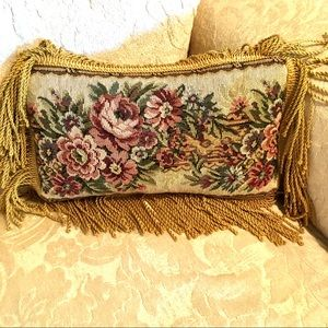 Victorian small Fringe Floral Accent Pillow